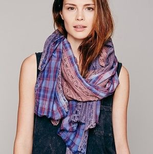 RARE! Free People patchwork plaid scarf